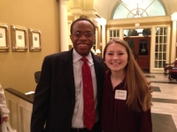 CISD School Board President Anthony Hill and student Christine Carroll.jpg
